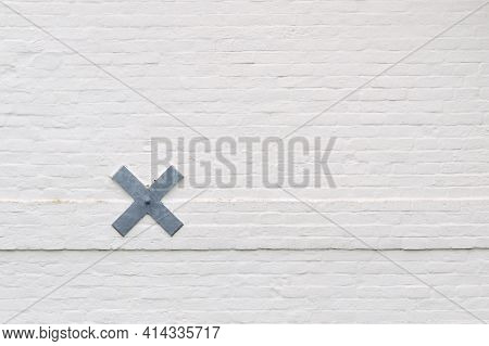 Wall Detail With White Painted Bricks At A Dutch Countryside House