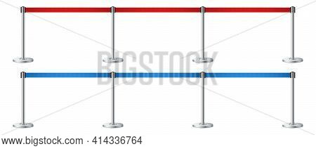 Set Of Realistic Barrier Fence With Red And Blue Tape. Metallic Poles. Red Carpet Event Entrance Gat