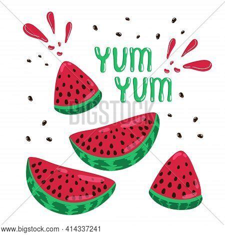 Banner Summer Mood Juicy Watermelons, Juicy Ripe Watermelon Set Yum Yum, Whole Watermelon And Slice,