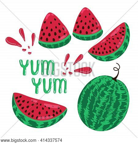 Juicy Ripe Watermelon Set Yum Yum, Whole Watermelon And Slice, Summer Delight Fruit, Vector Illustra