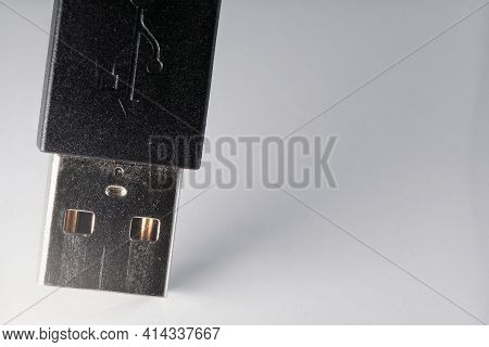 Extreme Closeup Of A Black Usb Cable On A White Background