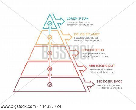Pyramid With Five Elements And Place For Your Text, Infographic Template For Web, Business, Presenta