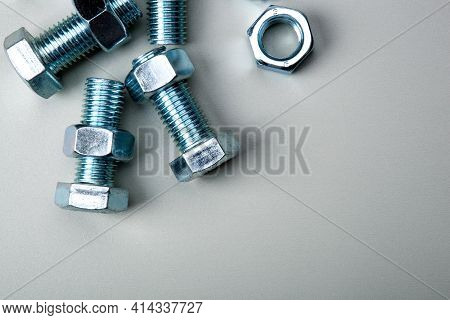 Steel Nuts Screws Fastening Materials Close Up