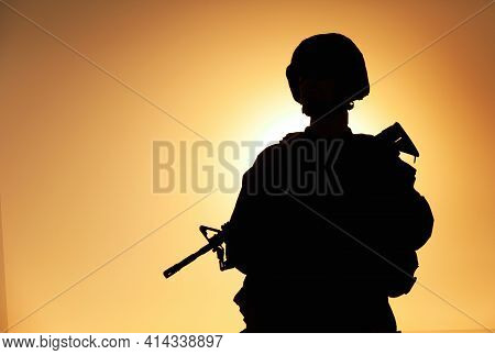 Half-length Silhouette Of Army Infantry Shooter, Special Operations Forces Soldier, Marines Rider In