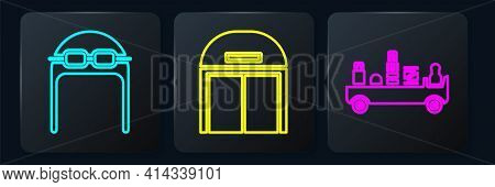 Set Isometric Aviator Hat With Goggles, Airport Luggage Towing Truck And Aircraft Hangar Icon. Vecto