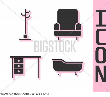 Set Bathtub, Coat Stand, Office Desk And Armchair Icon. Vector