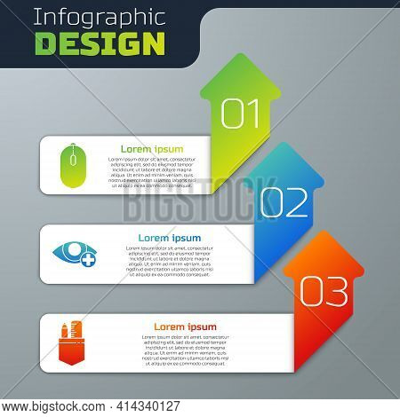 Set Computer Mouse, Red Eye Effect And Crossed Ruler And Pencil. Business Infographic Template. Vect