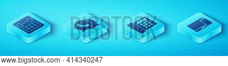 Set Isometric Calendar, Telephone With Speech Bubble Chat, Monitor And Phone And Telephone Icon. Vec