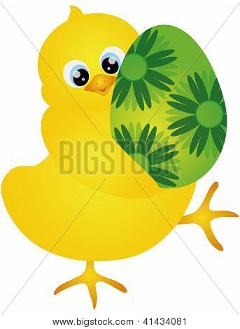 Yellow Chick Carrying an Happy Easter Day Egg with Floral Pattern Isolated on White Background Illustration poster