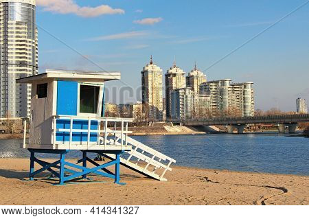 Detailed View Of Lifeguard Tower In Venice Beach In Hydropark, Kyiv, Ukraine. Favorite Place For Res