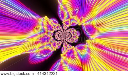 Geometric Party With 3d Render Futuristic Rainbow Vortex And Swirling Gradient. Electronic Flashes W