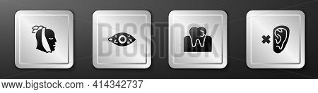 Set Toothache, Reddish Eye, With Caries And Deaf Icon. Silver Square Button. Vector