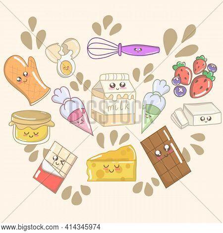 Kawaii Breakfast. Various Tasty Food With Faces. Cute Hand Drawn Set With Funny Cartoon Food. Vector