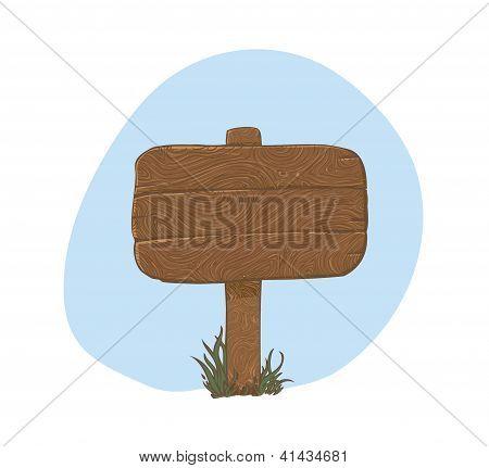 Wooden sign in grass - vector illustration