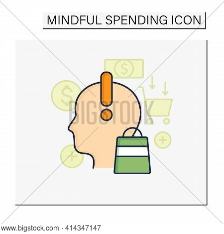 Mindful Spending Color Icon. Thoughtful Shopping. Necessary Purchases. Profitable Investment. Though