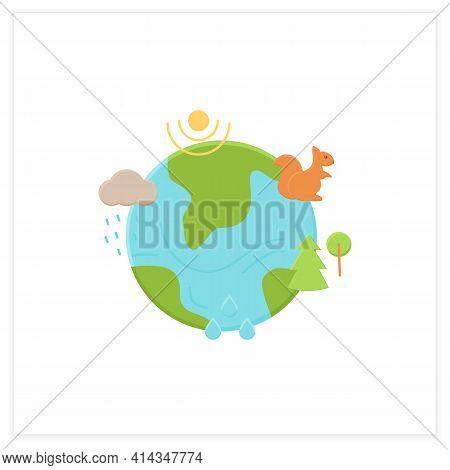 Ecosystem Flat Icon. Living Community Of Organisms. Consist Of Different Zones Like Tundra, Grasslan
