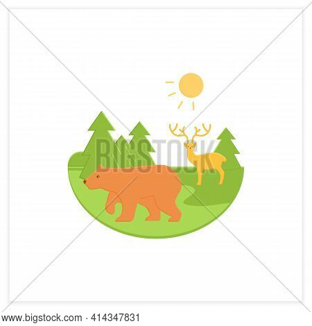 Taiga Forest Flat Icon. Boreal Forest Or The Coniferous Forest. Living Place For Dangerous And Wild