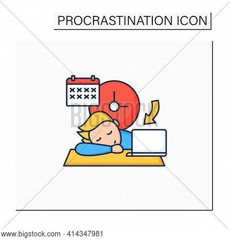 Crisis Marker Procrastinator Color Icon.laziness. Defer Task. Sleep At Workplace. Working On Stressf