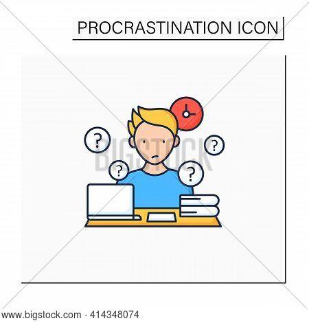 Overdoer Procrastinator Color Icon.taking Extra Work. Too Many Tasks.procrastination Concept. Isolat