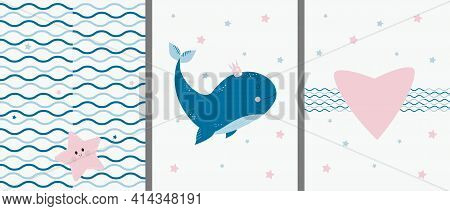 Postcards With A Marine Pattern And Animals. Cute Big Blue Whale With A Crown And A Starfish With A