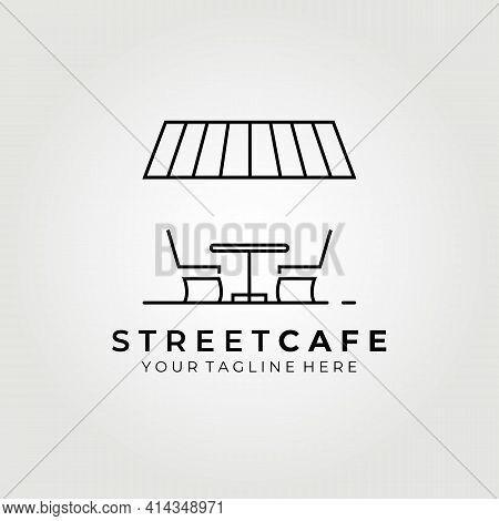 Street Cafe, Terrace Cafe Logo Vector Illustration Design Graphic, Line Art Logo Symbol