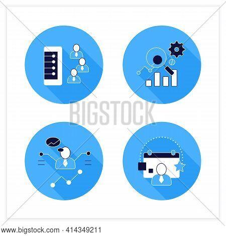 Customer Data Platform Flat Icons Set. Client Database, Measurement Analytics, Predictions, Events.