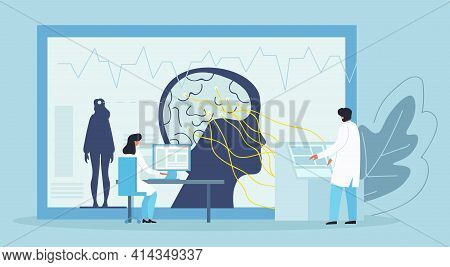 Scientists Studying Human Brain. Psychology, Human Mental Emotions, Feelings Abstract Concept. Inner
