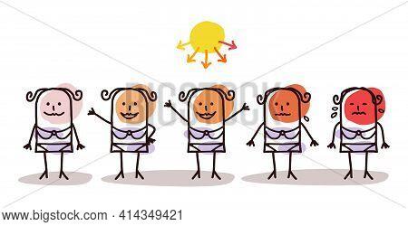 Hand Drawn Cartoon Woman Sunbathing And Dangerous Sun Rays