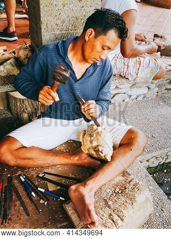 Bali, Indonesia - 01.22.2018: Local People Make Souvenirs For Tourists. Home Creativity.