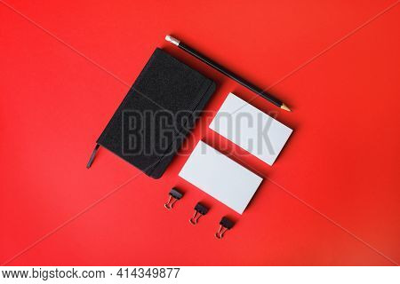 Blank Corporate Stationery Set On Red Paper Background. Template For Branding Design. Branding Mock