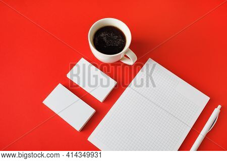 Template For Branding Identity. Identity Set Mock-up. Blank Stationery Set On Red Paper Background.