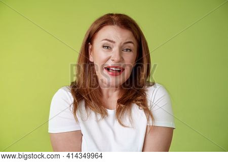 Tender Redhead Cheerful Middle-aged Mother Sighing Happiness Temptation Smiling Delighted Look Allur