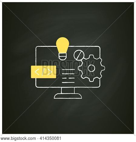 Software Platform Chalk Icon. Programming Environment. Platform For Creating New Operating Systems.