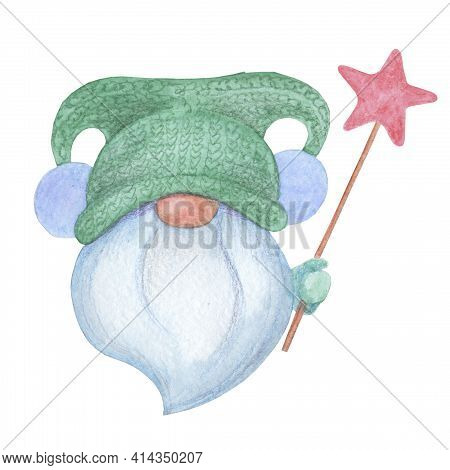 Dwarf Grandfather With A Gray Beard Holds A Magic Wand With A Good Luck. A Gnome In A Hat With Two P