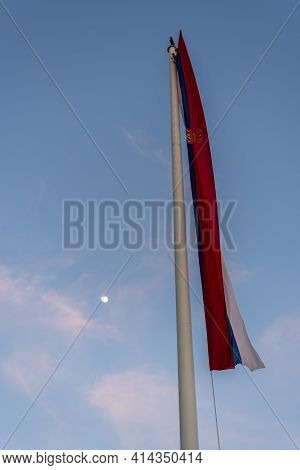 Huge Flag Of Serbia In Front Of The National Assembly Of The Republic Of Serbia, Parliament Of Serbi