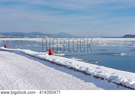 Winter View Of The St Lawrence River Seen From The Quebec City Docks