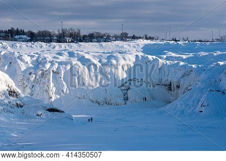 Winter View Of The Iced Chaudieres Falls (chutes De La Chaudière) At Levis