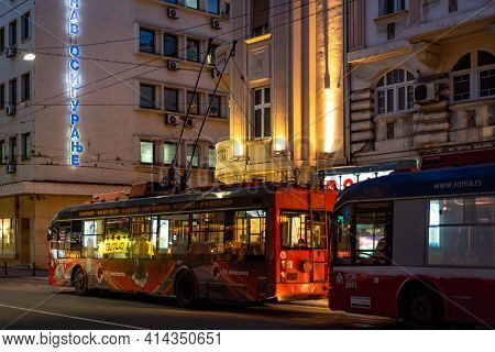 Trolleybuses Of The Public Transport Company Gsp Beograd In Belgrade, Serbia
