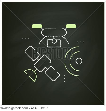 Drones Photography Chalk Icon. Provide In-depth And Varied Data For Their Clients. Used For Classifi