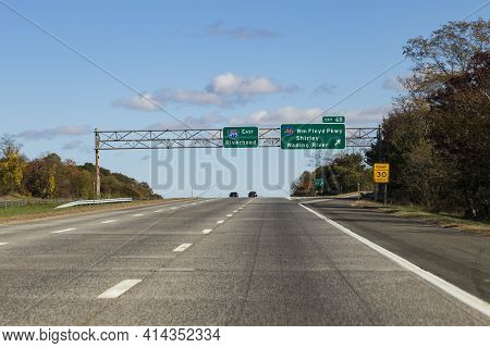 Traveling On Interstate 495 Passing Exit 46 Wading River
