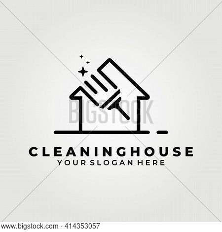 Cleaning House, Service Logo Vector Illustration Deign Graphic, Glass House Cleaning