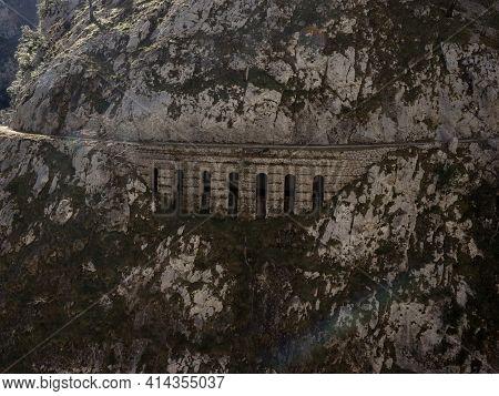 Rock Stone Bridge Viaduct On Gorge Valley Canyon Hiking Trail Path Route Senda Del Cares In Picos De