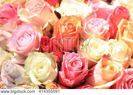 Bridal Flower Arrangement With Roses In Many Pastel Colors