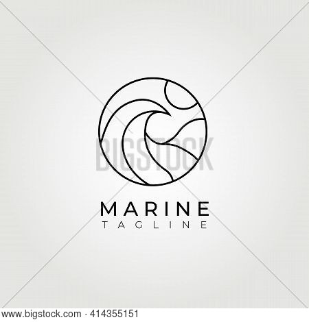 Ocean Logo, Great Wave Logo Vector Illustration Design Graphic, Sunset Or Sunrise Logo