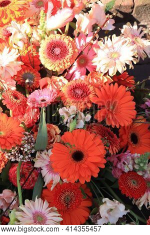 Gerbera Bouquet In Orange And Pink, Wedding Flower Arrangement