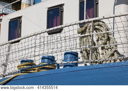 Detail Moored Steel Ship With Bollard And Ropework