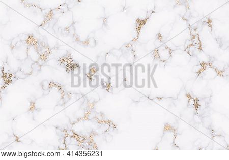 Gold Marble. Luxurious White And Silver Texture Background. Vector. Panoramic Marble Texture Design