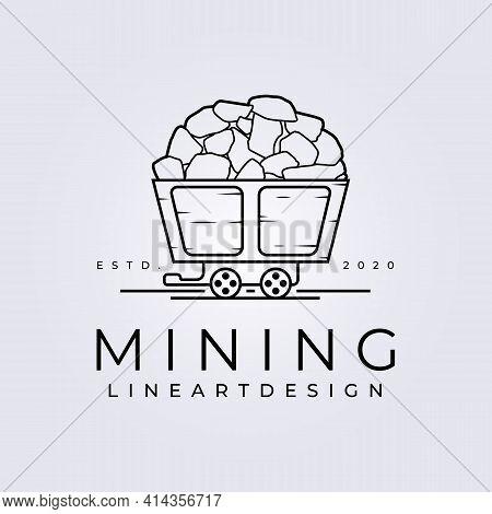 Line Art Mining Train Simple Logo Vector Illustration Design
