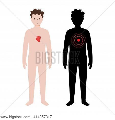 Pain Or Inflammation In Heart. Young Man Anatomy Poster. Ache In Children Human Body. Internal Organ