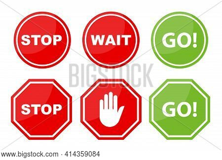 Sign Stop, Go And Wait Isolated On White Background. Collection Traffic Signs. Vector Illustration.